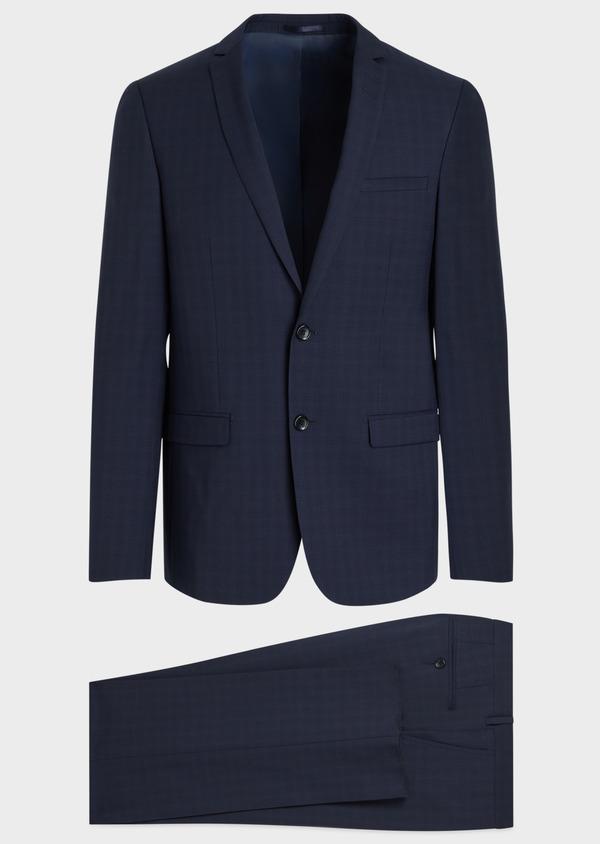 Costume 2 pièces Regular en laine stretch naturelle unie bleu indigo - Father and Sons 35060