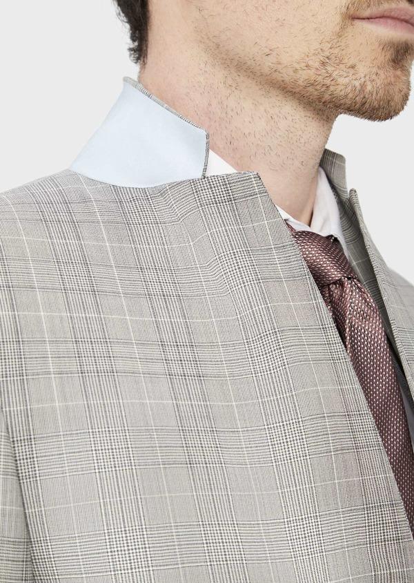 Costume 2 pièces Slim en laine stretch naturelle beige Prince de Galles - Father and Sons 37428
