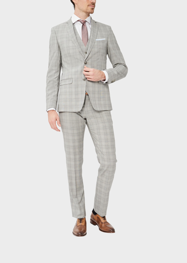 Costume 2 pièces Slim en laine stretch naturelle beige Prince de Galles - Father and Sons 37426