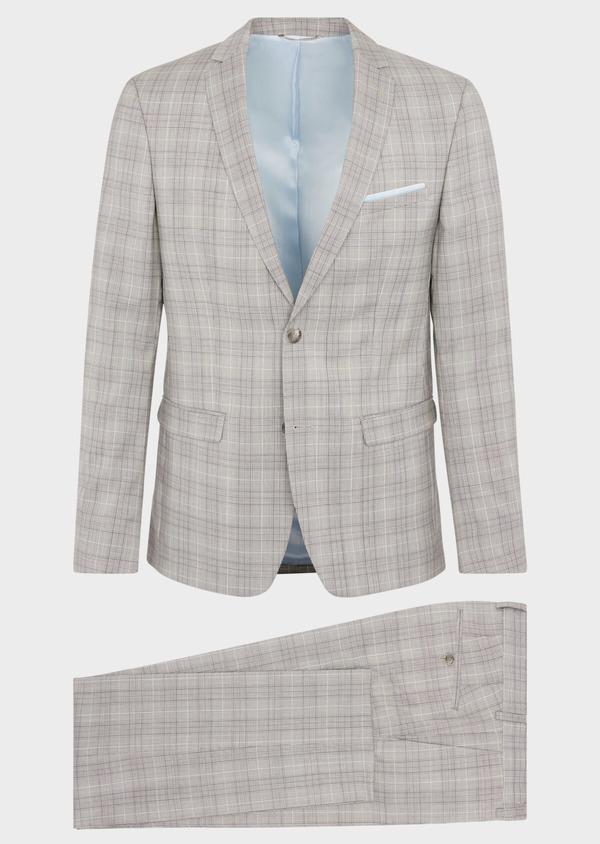 Costume 2 pièces Slim en laine stretch naturelle beige Prince de Galles - Father and Sons 37424
