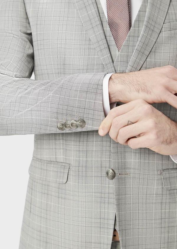 Costume 2 pièces Slim en laine stretch naturelle beige Prince de Galles - Father and Sons 37429