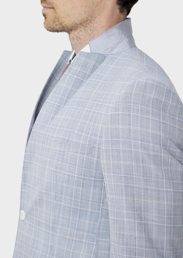 Costume 2 pièces Slim en laine mélangée bleu clair Prince de Galles - Father and Sons 39814