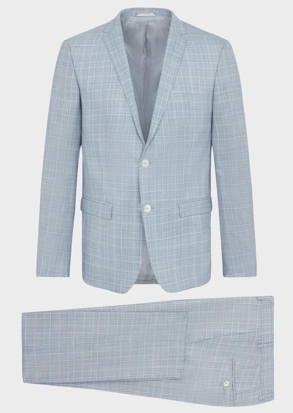 Costume 2 pièces Slim en laine mélangée bleu clair Prince de Galles - Father and Sons 39810