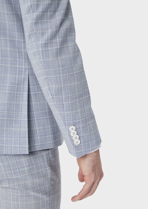 Costume 2 pièces Slim en laine mélangée bleu clair Prince de Galles - Father and Sons 39815