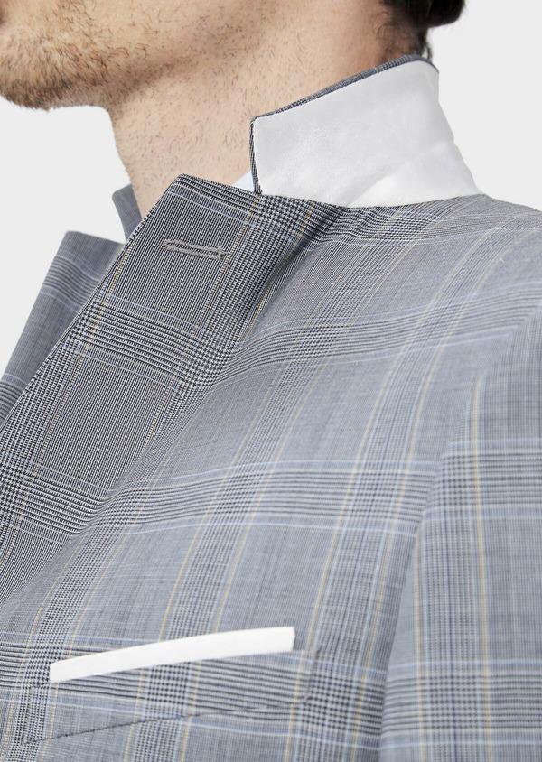 Costume 2 pièces Slim en laine stretch naturelle bleu indigo Prince de Galles - Father and Sons 37452