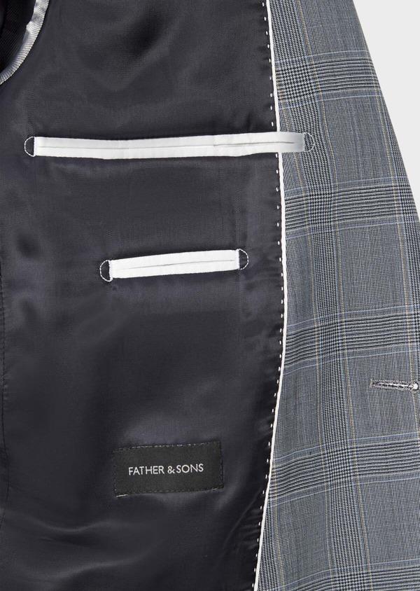 Costume 2 pièces Slim en laine stretch naturelle bleu indigo Prince de Galles - Father and Sons 37454