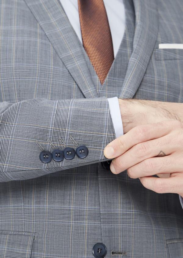 Costume 2 pièces Slim en laine stretch naturelle bleu indigo Prince de Galles - Father and Sons 37453