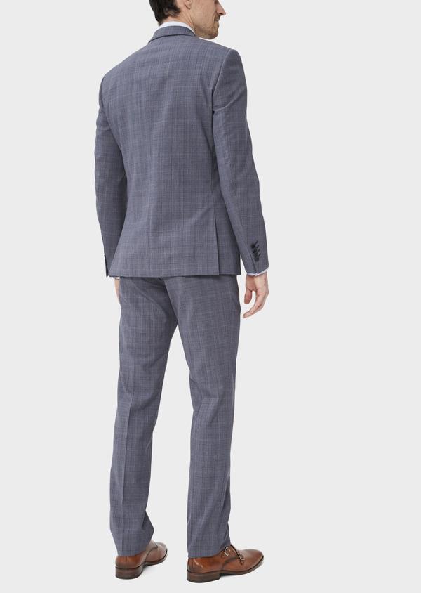 Costume 2 pièces Slim en laine stretch naturelle bleu chambray Prince de Galles - Father and Sons 37535