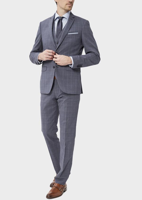Costume 2 pièces Slim en laine stretch naturelle bleu chambray Prince de Galles - Father and Sons 37534