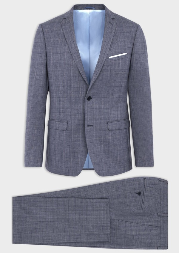 Costume 2 pièces Slim en laine stretch naturelle bleu chambray Prince de Galles - Father and Sons 37532