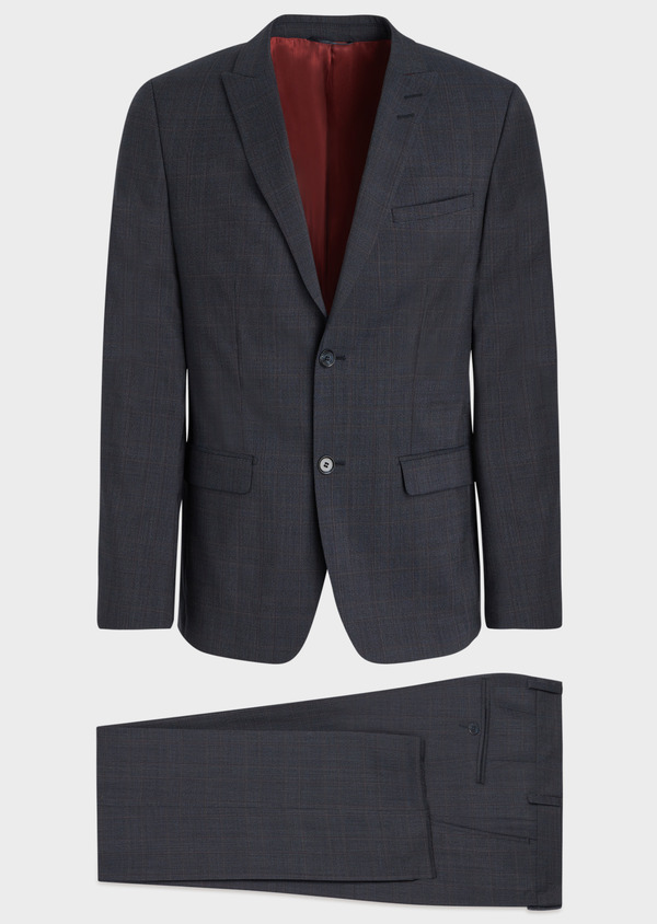 Costume 2 pièces Slim en laine stretch naturelle bleu chambray Prince de Galles - Father and Sons 37307