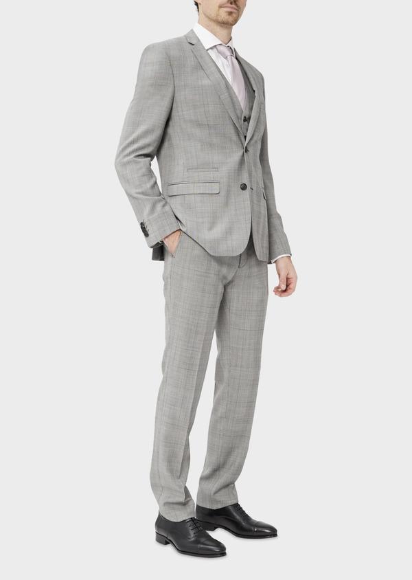 Costume 2 pièces Slim en laine grise Prince de Galles - Father and Sons 37405