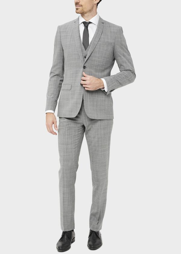 Costume 2 pièces Slim en laine mélangée gris clair Prince de Galles - Father and Sons 37555