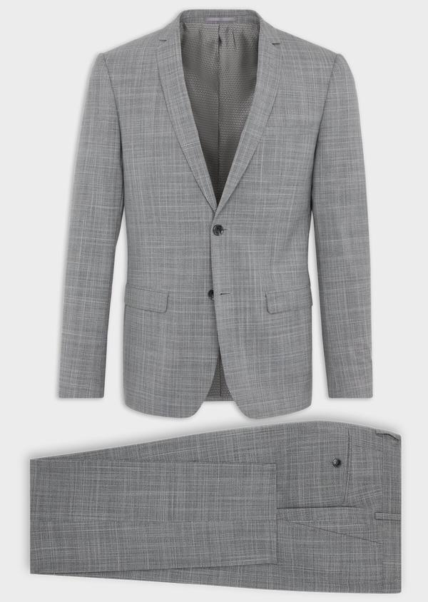 Costume 2 pièces Slim en laine mélangée gris clair Prince de Galles - Father and Sons 37553