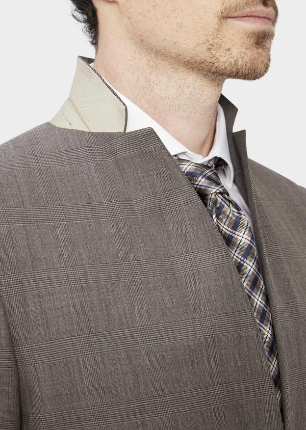 Costume 2 pièces Slim en laine mélangée marron Prince de Galles - Father and Sons 37585