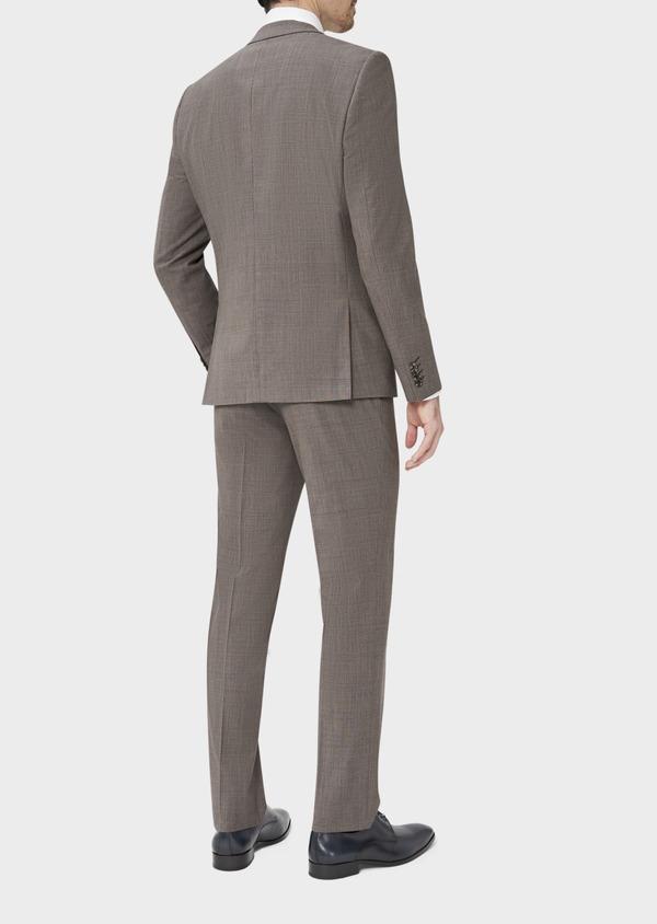 Costume 2 pièces Slim en laine mélangée marron Prince de Galles - Father and Sons 37584