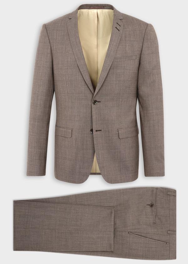 Costume 2 pièces Slim en laine mélangée marron Prince de Galles - Father and Sons 37581