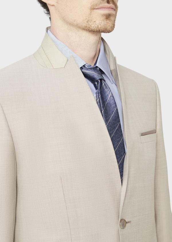 Costume 2 pièces Slim en laine stretch naturelle unie beige - Father and Sons 37578
