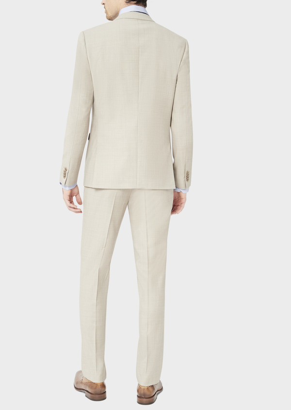 Costume 2 pièces Slim en laine stretch naturelle unie beige - Father and Sons 37577