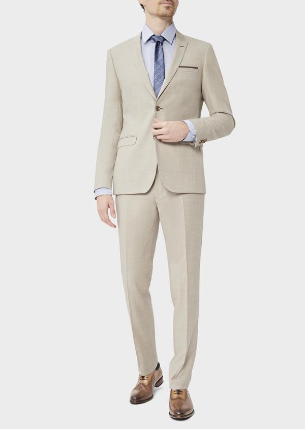 Costume 2 pièces Slim en laine stretch naturelle unie beige - Father and Sons 37576