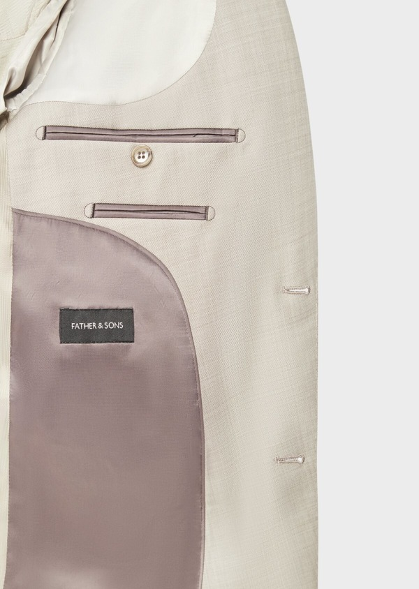 Costume 2 pièces Slim en laine stretch naturelle unie beige - Father and Sons 37580