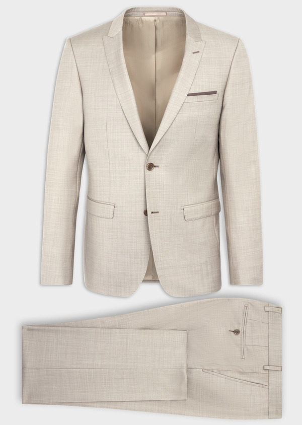 Costume 2 pièces Slim en laine stretch naturelle unie beige - Father and Sons 37574