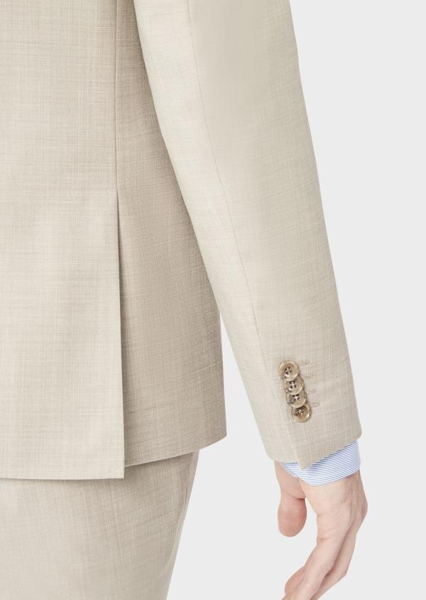 Costume 2 pièces Slim en laine stretch naturelle unie beige - Father and Sons 37579
