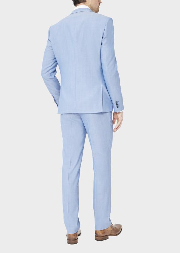 Costume 2 pièces Slim en laine stretch naturelle unie bleu clair - Father and Sons 37434