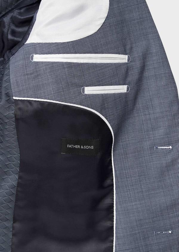 Costume 2 pièces Slim en laine stretch naturelle bleu indigo pied-de-poule - Father and Sons 37461