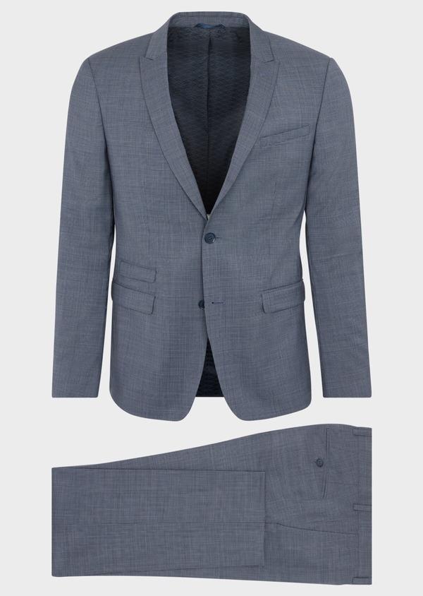 Costume 2 pièces Slim en laine stretch naturelle bleu indigo pied-de-poule - Father and Sons 37455