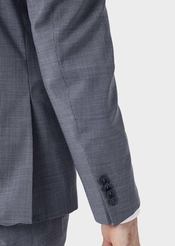 Costume 2 pièces Slim en laine stretch naturelle bleu indigo pied-de-poule - Father and Sons 37460