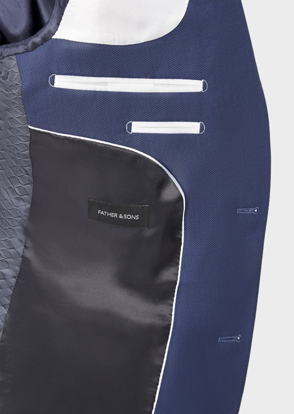 Costume 2 pièces Slim en laine stretch Naturelle unie bleu indigo - Father and Sons 37468