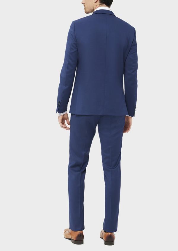 Costume 2 pièces Slim en laine stretch naturelle unie bleu indigo - Father and Sons 37472