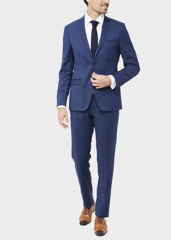 Costume 2 pièces Slim en laine stretch naturelle unie bleu indigo - Father and Sons 37471