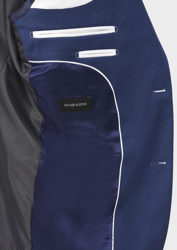 Costume 2 pièces Slim en laine stretch naturelle unie bleu indigo - Father and Sons 37475