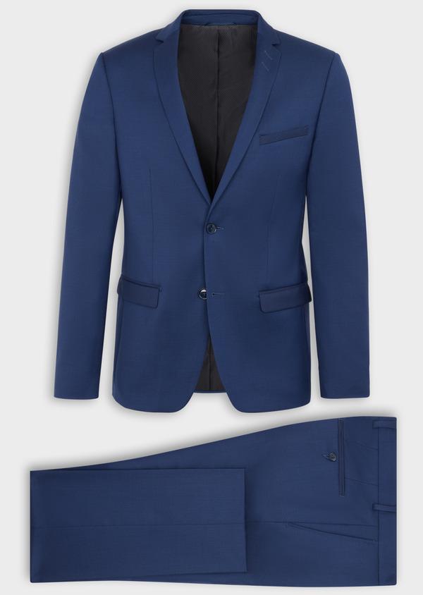 Costume 2 pièces Slim en laine stretch naturelle unie bleu indigo - Father and Sons 37469