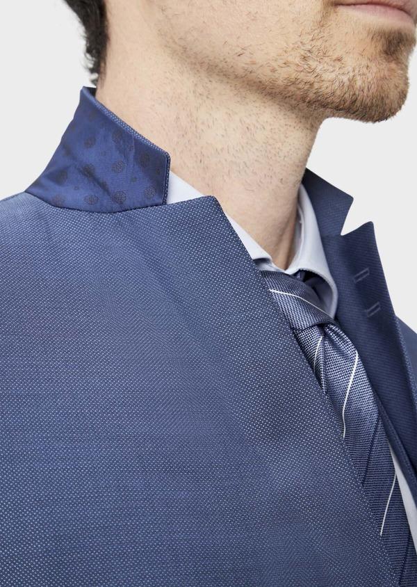 Costume 2 pièces Slim en laine stretch naturelle unie bleu chambray - Father and Sons 37515