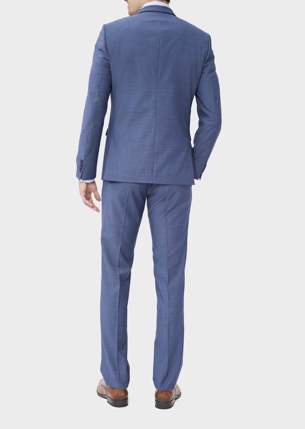 Costume 2 pièces Slim en laine stretch naturelle unie bleu chambray - Father and Sons 37514