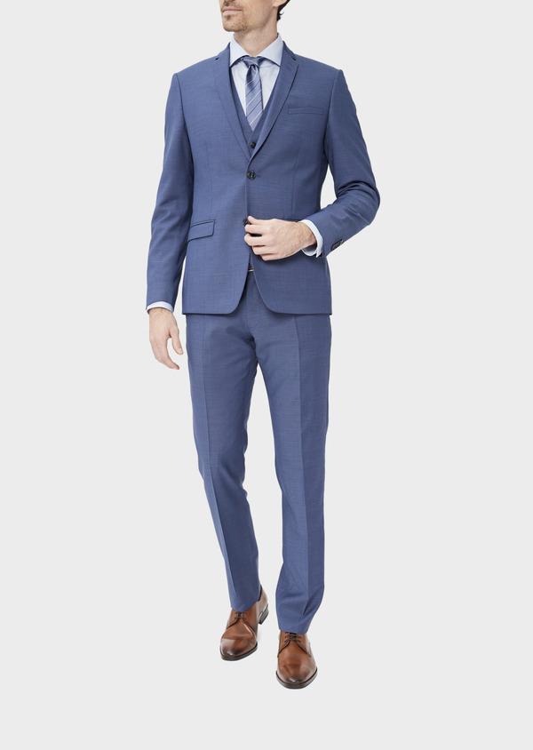 Costume 2 pièces Slim en laine stretch naturelle unie bleu chambray - Father and Sons 37513
