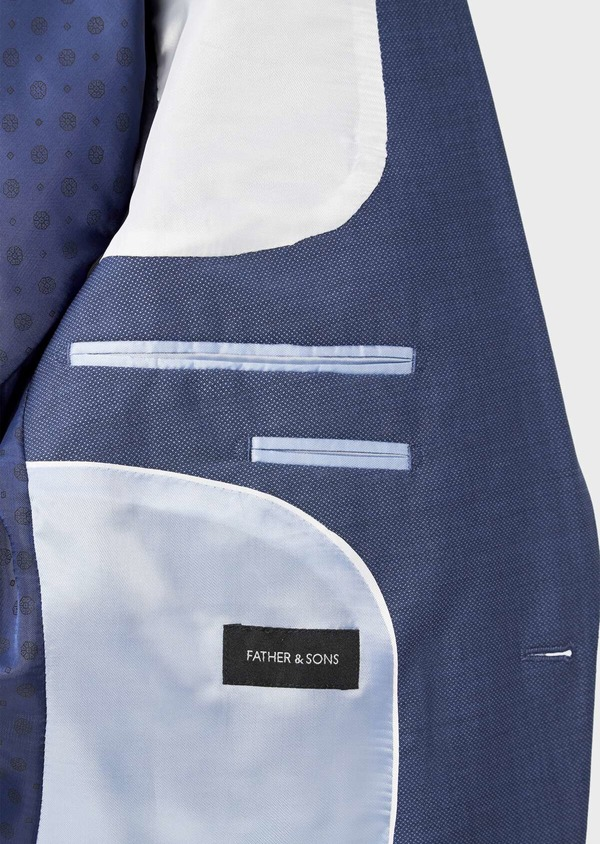 Costume 2 pièces Slim en laine stretch naturelle unie bleu chambray - Father and Sons 37517