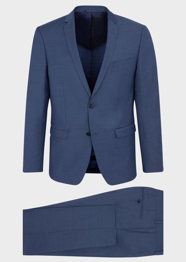 Costume 2 pièces Slim en laine stretch naturelle unie bleu chambray - Father and Sons 37511
