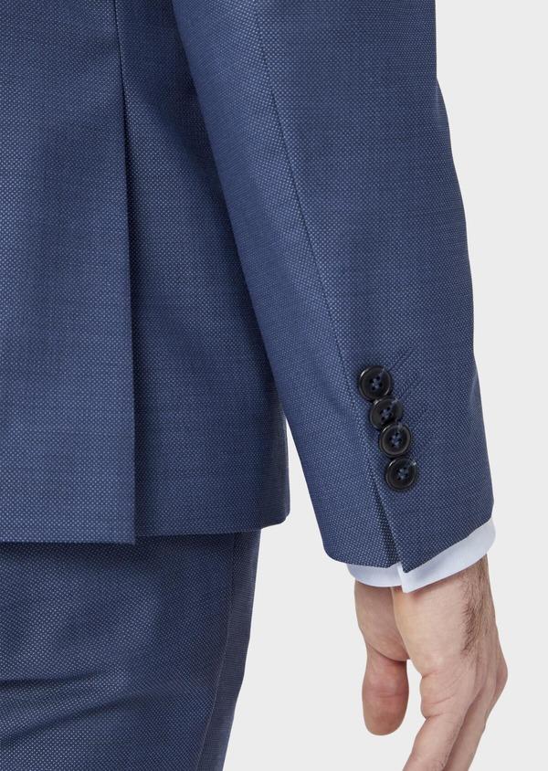 Costume 2 pièces Slim en laine stretch naturelle unie bleu chambray - Father and Sons 37516