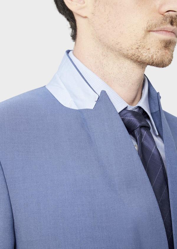 Costume 2 pièces Slim en laine stretch naturelle unie bleu chambray - Father and Sons 37522
