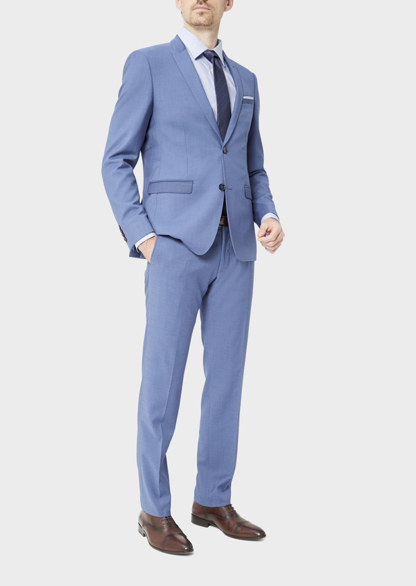 Costume 2 pièces Slim en laine stretch naturelle unie bleu chambray - Father and Sons 37520