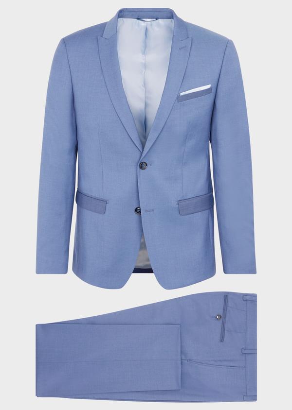 Costume 2 pièces Slim en laine stretch naturelle unie bleu chambray - Father and Sons 37518