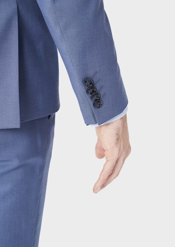 Costume 2 pièces Slim en laine stretch naturelle unie bleu chambray - Father and Sons 37523