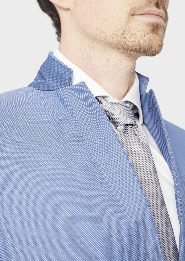 Costume 2 pièces Slim en laine stretch naturelle unie bleu chambray - Father and Sons 37529