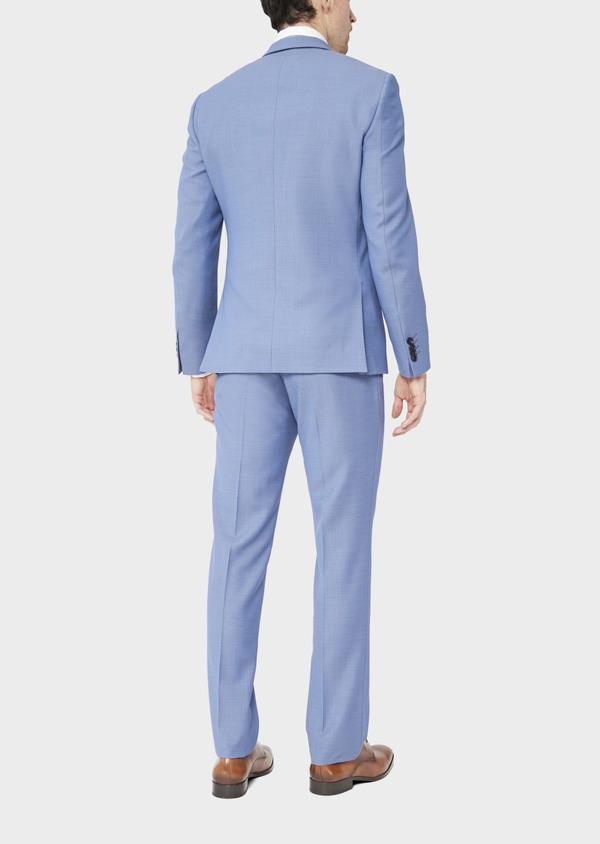 Costume 2 pièces Slim en laine stretch naturelle unie bleu chambray - Father and Sons 37528