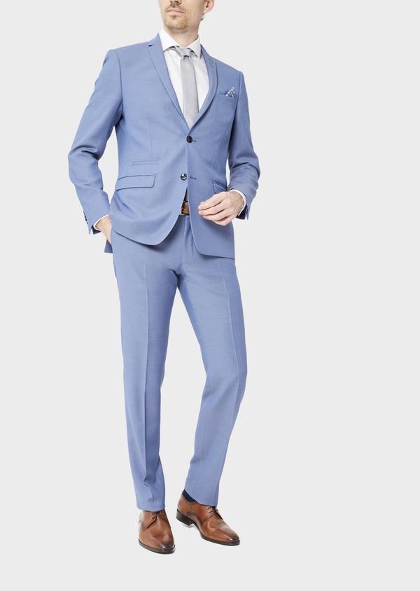Costume 2 pièces Slim en laine stretch naturelle unie bleu chambray - Father and Sons 37527