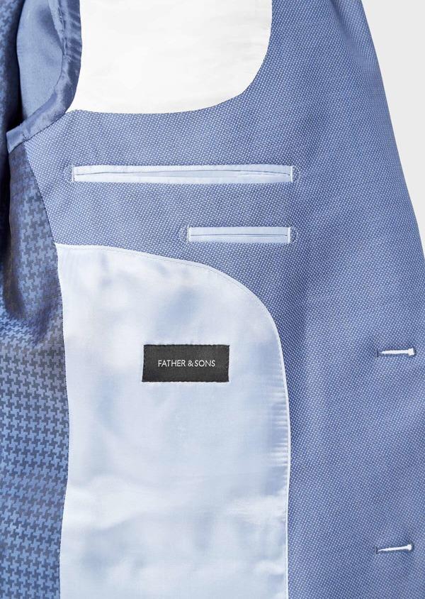 Costume 2 pièces Slim en laine stretch naturelle unie bleu chambray - Father and Sons 37531